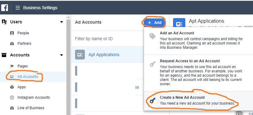 How to add an ad account